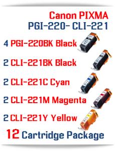 12 Cartridge Package - PGI-220 - CLI-221 Compatible Canon Pixma Ink Cartridges