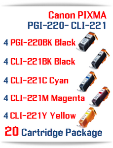 20 Cartridge Package - PGI-220 - CLI-221 Compatible Canon Pixma Ink Cartridges