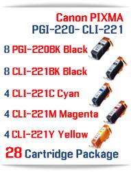 28 Cartridge Package - PGI-220 - CLI-221 Compatible Canon Pixma Ink Cartridges