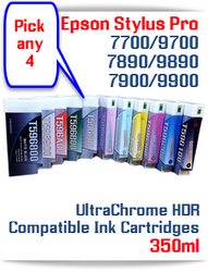 Pick 4 T596 Epson Stylus Pro 7700/9700, 7890/9890, 7900/9900 UtraChrome HDR Pigment Compatible Ink Cartridge 350ml