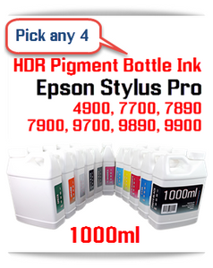 Pick 4 1000ml UltraChrome HDR Compatible Refill Pigment Ink Epson Stylus Pro 4900, 7700, 7890, 7900, 9700, 9890, 9900 Printers
