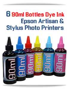 6 Color Package 90ml Dye Ink for Epson Artisan, Stylus Photo Printers