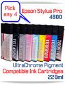 Pick 4 Epson Stylus Pro 4800 Printer Compatible Ink Cartridges 220ml