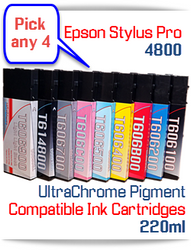 Pick 4 Epson Stylus Pro 4800 Printer Compatible Ink Cartridges 220ml