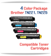 4 Color Package TN221, TN225 Brother Compatible High Yield Toner Cartridges Free Shipping