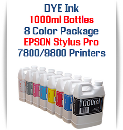 8 Color Package 1000ml each Color Dye Ink Epson Stylus Pro 7800, 9800 Printers