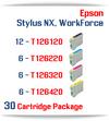 30 Cartridge Package T126 Epson WorkForce, Stylus NX Compatible Ink Cartridges Includes: 12 Black, 6 Cyan, 6 Magenta, 6 Yellow