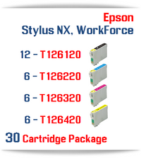 30 Cartridge Package T126 Epson WorkForce, Stylus NX Compatible Ink Cartridges Includes: 12 Black, 6 Cyan, 6 Magenta, 6 Yellow
