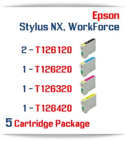 5 Cartridge Package T126 Epson WorkForce, Stylus NX Compatible Ink Cartridges Includes: 2 Black, 1 Cyan, 1 Magenta, 1 Yellow