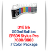7 Color Package Photographic Dye Ink Epson Stylus Pro 7600, 9600 Printers 500ml each Color