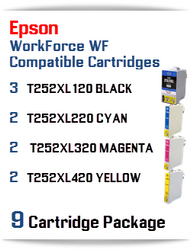 9 Cartridge Package - T252XL Epson WorkForce WF compatible ink cartridges   WorkForce WF-3620 Printer  WorkForce WF-3640 Printer  WorkForce WF-7110 Printer  WorkForce WF-7210 Printer  WorkForce  WF-7610 Printer  WorkForce WF-7620 Printer  WorkForce WF-7710 Printer  WorkForce WF-7720 Printer