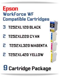 9 Cartridge Package - T252XL Epson WorkForce WF compatible ink cartridges   WorkForce WF-3620 Printer  WorkForce WF-3640 Printer  WorkForce WF-7110 Printer  WorkForce WF-7210 Printer  WorkForce  WF-7610 Printer  WorkForce WF-7620 Printer  WorkForce WF-7710 Printer  WorkForce WF-7720 Printer