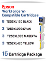 15 Cartridge Package - T252XL Epson WorkForce WF compatible ink cartridges   WorkForce WF-3620 Printer  WorkForce WF-3640 Printer  WorkForce WF-7110 Printer  WorkForce WF-7210 Printer  WorkForce  WF-7610 Printer  WorkForce WF-7620 Printer  WorkForce WF-7710 Printer  WorkForce WF-7720 Printer