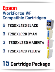 15 Cartridge Package - T252XL Epson WorkForce WF compatible ink cartridges   WorkForce WF-3620 Printer  WorkForce WF-3640 Printer  WorkForce WF-7110 Printer  WorkForce WF-7210 Printer  WorkForce  WF-7610 Printer  WorkForce WF-7620 Printer  WorkForce WF-7710 Printer  WorkForce WF-7720 Printer