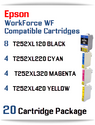 20 Cartridge Package - T252XL Epson WorkForce WF compatible ink cartridges   WorkForce WF-3620 Printer  WorkForce WF-3640 Printer  WorkForce WF-7110 Printer  WorkForce WF-7210 Printer  WorkForce  WF-7610 Printer  WorkForce WF-7620 Printer  WorkForce WF-7710 Printer  WorkForce WF-7720 Printer