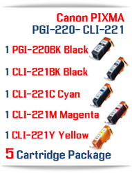 5 Ink Tank Package - PGI-220 - CLI-221 Compatible Canon Pixma Ink Tanks