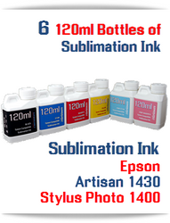 6 Color Package 120ml Bottle Sublimation Ink Epson Artisan 1430, Stylus Photo 1400 printers