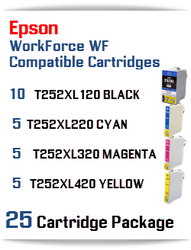 25 Cartridge Package - T252XL Epson WorkForce WF compatible ink cartridges   WorkForce WF-3620 Printer  WorkForce WF-3640 Printer  WorkForce WF-7110 Printer  WorkForce WF-7210 Printer  WorkForce  WF-7610 Printer  WorkForce WF-7620 Printer  WorkForce WF-7710 Printer  WorkForce WF-7720 Printer