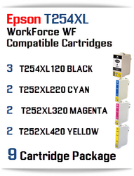 9 Ink Cartridge Package T254XL-T252XL Epson WorkForce WF printer compatible ink cartridges  WorkForce WF-7110 Printer  WorkForce WF-7210 Printer  WorkForce  WF-7610 Printer  WorkForce WF-7620 Printer  WorkForce WF-7710 Printer  WorkForce WF-7720 Printer