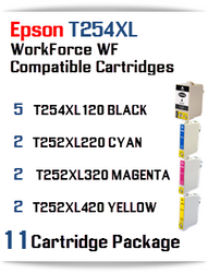 11 Ink Cartridge Package T254XL-T252XL Epson WorkForce WF printer compatible ink cartridges  WorkForce WF-7110 Printer  WorkForce WF-7210 Printer  WorkForce  WF-7610 Printer  WorkForce WF-7620 Printer  WorkForce WF-7710 Printer  WorkForce WF-7720 Printer