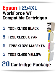 20 Ink Cartridge Package T254XL-T252XL Epson WorkForce WF printer compatible ink cartridges  WorkForce WF-7110 Printer  WorkForce WF-7210 Printer  WorkForce  WF-7610 Printer  WorkForce WF-7620 Printer  WorkForce WF-7710 Printer  WorkForce WF-7720 Printer