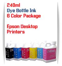 6 Bottles 240ml Dye Ink Epson Desktop All in One Small Format Printers