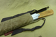 Bob's Saw with Frost River waxed canvas bag open to reveal saw handle. Note: extra blade fits right into the bag along with the saw