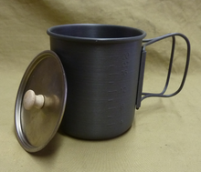 Here's a look at the optional titanium lid, with wooden lid handle. This is a great addition to your mug, and will make you wonder how (or why) you went so long without one.