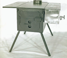 "Two Dog DX steel stove shown here, with optional water jacket. Note: one side shelf (shown) comes with your order as ""standard"" equipment. You can order an additional side shelf (for two total) as one of your options as you put your order together. This stove has not yet been painted black (as your stove will be) with high temperature stove paint."