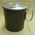 Hard anodized aluminum 1.1 liter pot with lid--handles fold flat for transporting and nesting into larger pots.