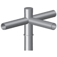 3 @ 90 deg. Fixture Mount, 12in Long, Steel Spoke Bracket, Pole Top Mount