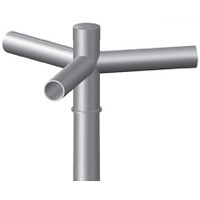 3 @ 120 deg. Fixture Mount, 12in Long, Steel Spoke Bracket, Pole Top Mount