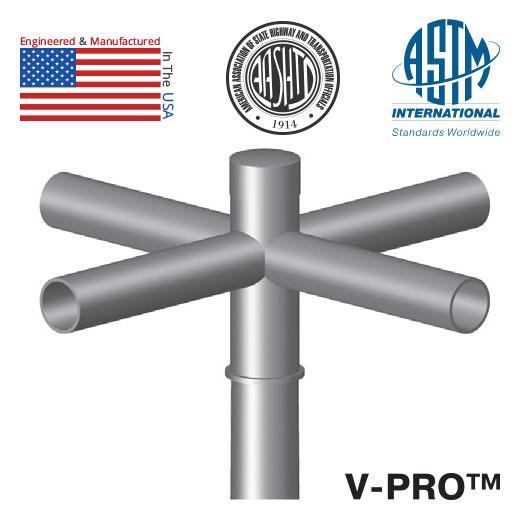Light Poles Plus: 4 @ 90 Deg. Fixture Mount, 12in Long, Steel Spoke Bracket