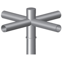 4 @ 90 deg. Fixture Mount, 12in Long, Steel Spoke Bracket, Pole Top Mount