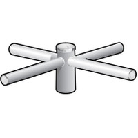 4 @ 90 deg. Fixture Mount, 18in Long, Aluminum Spoke Bracket, Pole Top Mount