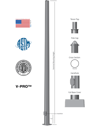 Round Tapered Steel Anchor Base Light Pole