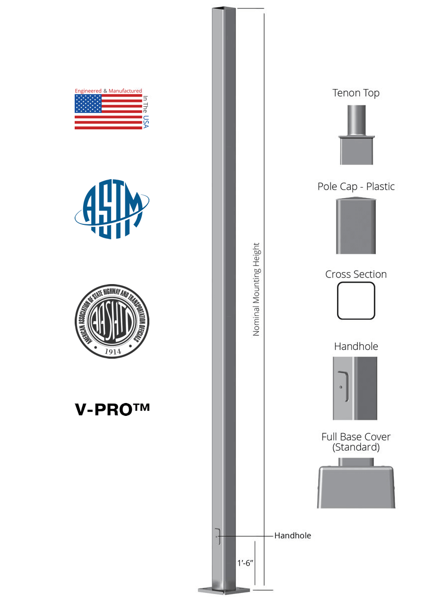 20 Tall X 5 0in Od X 11ga Thick Square Straight Steel Anchor Base Light Pole Light Poles Plus Vs Sssa 20 5050 11 Ab Fp