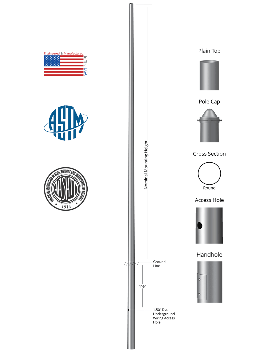 14 Above Grade X 40in Od 0125in Thick Round Tapered Aluminum Underground Wiring To Light Post Direct Burial Pole