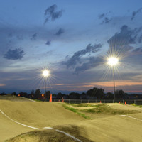 Round tapered fiberglass light poles installed at Dacono BMX Track in Colorado
