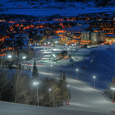2570 Steamboat Springs Ski Resort Night Skiing Light Poles