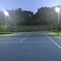 Personal tennis court lit with new LED Shoebox light fixtures