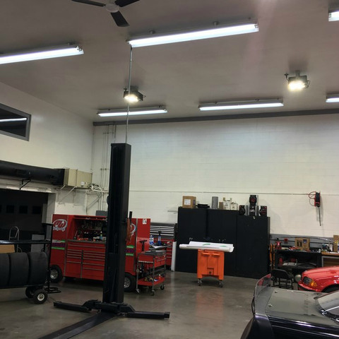 240w LED ShoeBay lighting fixtures illuminate the auto shop