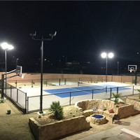 Square straight steel poles, bullhorn brackets, and LED Shoebox light fixtures illuminating the backyard sports court