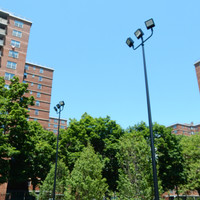 3@180deg. steel bullhorn brackets with 240w light fixtures for high school basketball courts
