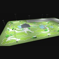 Mini golf course - 240w LED Shoebox fixtures with 25' steel light poles, and steel bullhorn brackets.