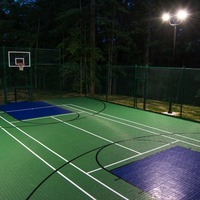 Backyard basketball court equipped with LED Shoebox light fixtures, aluminum bullhorn brackets, and 18' aluminum light poles.