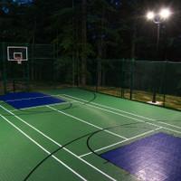 Backyard basketball court equipped with LED Shoebox light fixtures, aluminum bullhorn brackets, and 18' aluminum light poles.