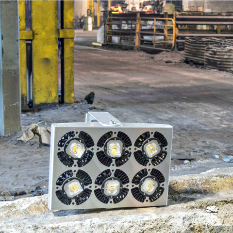 6-Engine LED Helios light fixtures in the Barber Steel Foundry