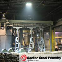 Steel foundry illuminated by LED Helios lighting