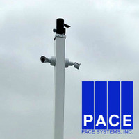 2 security cameras mounted on the square straight aluminum pole